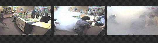 Smoke Screen activating in a jewellery store in South Africa
